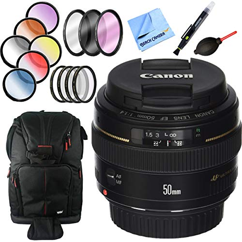 Canon EF 50mm f/1.4 USM Standard and Medium Telephoto Lens Bundle with 58mm Filter Sets, Backpack and Accessories (3 Items)