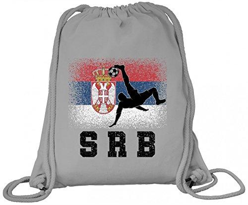 Serbien Fußball WM Fanfest Gruppen Fan Premium Bio Baumwoll Turnbeutel Rucksack Stanley Stella Serbia Football Player Heather Grey ilfbMwKG1
