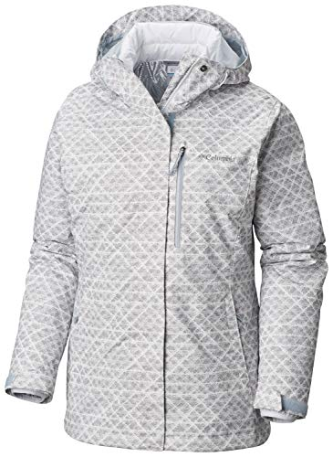 Columbia Women's Whirlibird Interchange Jacket, Waterproof and Breathable, White Diamonds Print, X-Large
