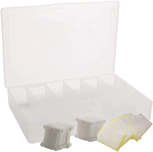 Cikuso Caja Organizador de Hilo de Bordado - 17 Compartimentos con 100 Bobinas de Hilo de Plástico Duro Y 480 Pegatinas de Números de Hilo (Juego Completo): Amazon.es: Hogar