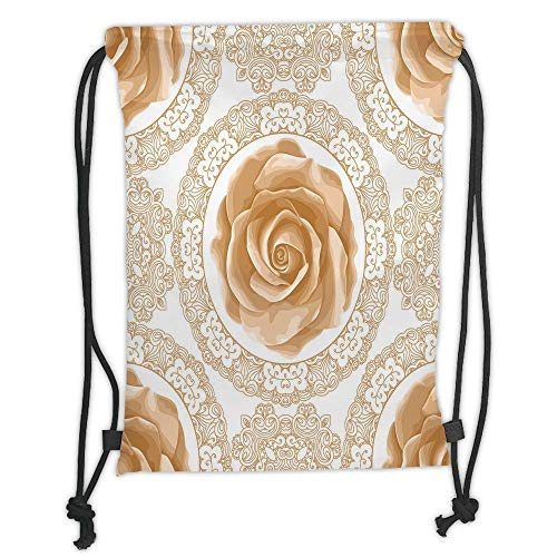 (Floral,Rose Florets with Classic Golden Lace Authentic Feminine Retro Oriental Motif,Sand Brown White Soft Satin,5 Liter Capacity,Adjustable String Closur)