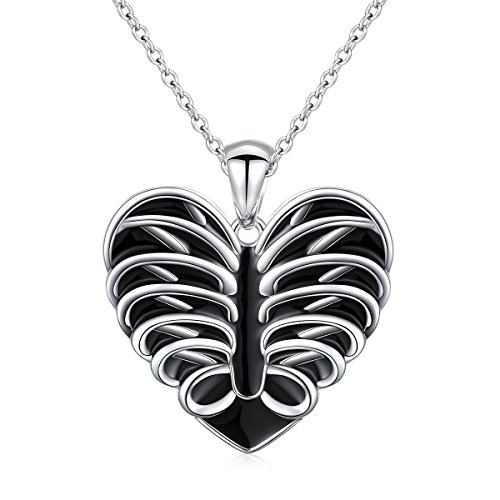 - JZMSJF Graduation Necklace S925 Sterling Silver Doctor Nurse Gift Human Anatomy Necklace Jewelry Heart Rib Cage Pendant Necklace Halloween Heart Charm Necklace,Chain 18''