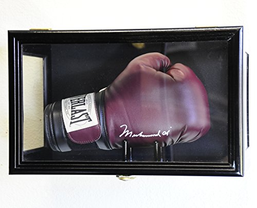 (Clear Viewing Boxing Glove Display Case Cabinet Wall Rack / Free Standing (Black Finish))