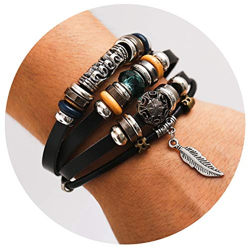 77Fine Leather Wrap Boho Bracelet CZ Bead Leaf Adjustable Handmade Bracelet for Man Woman -
