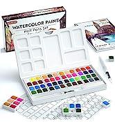 Watercolor Paint Set, Shuttle Art 48 Colors Watercolour Paint in Half Pans with 2 Water Brush Pen...