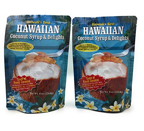 Hawaiian Coconut Pancake and Waffle Syrup Mix, 2 Pack - Makes up to 40 Ounces Total, Simple to Make, Just Mix with Hot Water 1