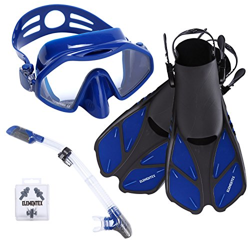 ELEMENTEX Snorkel Set Gear Includes Scuba Mask, Diving Trek Fins and Easy-Breath Dry Top Valve - with Improved Tempered Glass on The Snorkeling Mask | Free Ear Plugs and Nose Clip for Swimming