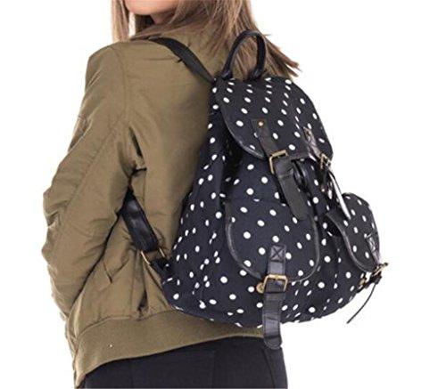 Great Strange Retro Doppel-Taschen-Rucksack gedruckt Schwarz Bottom Dot Schultasche für Kinder Adult Travel Shopping Black 20-35L