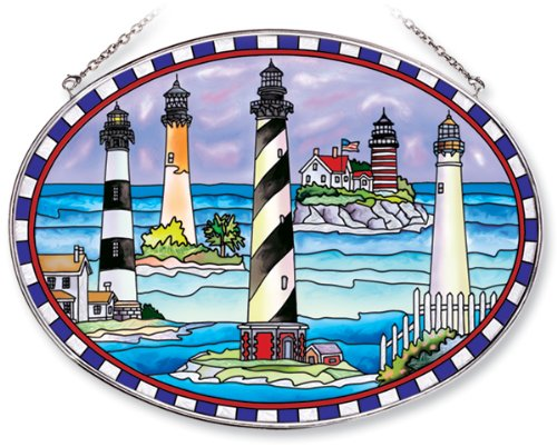 Lighthouse Suncatcher (Amia Oval Suncatcher with Lighthouse Collage Design, Hand Painted Glass, 6-1/2-Inch by 9-Inch)