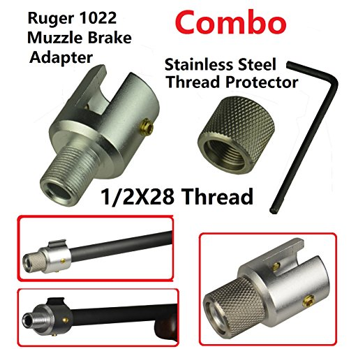 Field Sport All Aluminum Siver Finish Ruger 1022 10-22 Muzzle Brake Adapter  1/2x28 Thread and Combo With a Stainless Steel Thread Protector 1/2x28