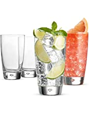 Bormioli Rocco Highball Drinking Glasses - 15-Ounce Water Glass (Set of 4) Mojito Glasses, Heavy Base Bar Glassware - Glass Cups for Juice, Beer, Wine, Whiskey, and Cocktails, Lead-Free Glass