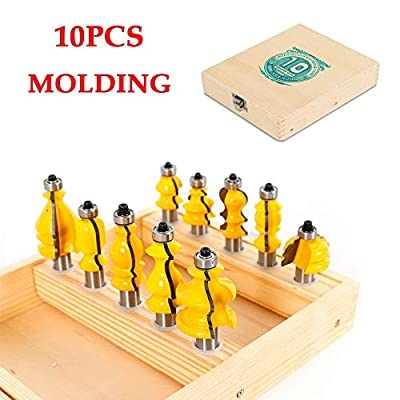 """Molding Router Bit Set, 10 Pcs Architectural Molding Router Bit Set & Mitered Door Cutter Tool 1/2"""" Specialty Shank Carbide Coated Tool Set for Woodworking (US STOCK)"""