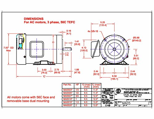 56c frame mounting dimensions for 56c frame motor dimensions