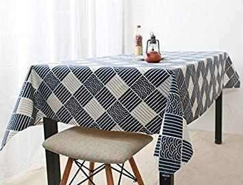 Japanese Style Wind Blue Jane Europe Table Cloth Japan Tradition Retro  Lattice Fresh Cloth Cotton
