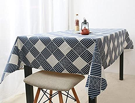 Japanese Style Wind Blue Jane Europe Table Cloth Japan Tradition Retro  Lattice Fresh Cloth Cotton