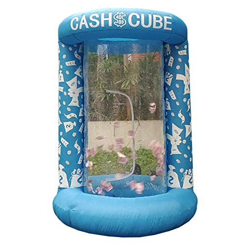 Inflatable Cash Cube Booth for Advertisment, Inflatable Money Grab Machine for Event (No Blower Included) (Blue) ()