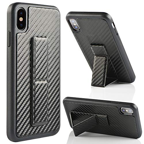iPhone Xs Max Case, ZVEdeng iPhone Xs Max Case with Stand Shockproof Vertical and Horizontal Kickstand Hand Strap Magnetic Stand Carbon Fiber Slim Case Cover for Apple iPhone Xs Max 6.5 Black