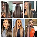 AISI QUEENS Long Straight Highlights Wig 24 Inch