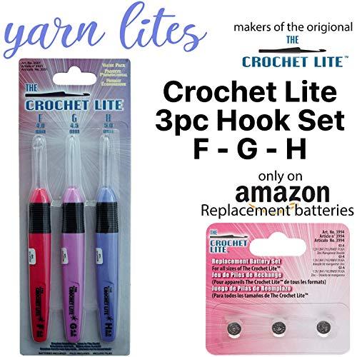 [해외]라이트 업 크로셰 후크 세트 - 오리지널 크로셰 후크 라이트 3개 후크 세트 (F - G - H) / Light Up Crochet Hook Set - The Original Crochet Hook Lights, Set of 3 Hooks (F - G - H)