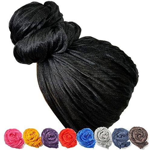 Stretch Head Wrap - Long Black Head Wrap Turban Hair Scarf Tie Color 1pcs (Black) (Scarf Turban Head Wrap)