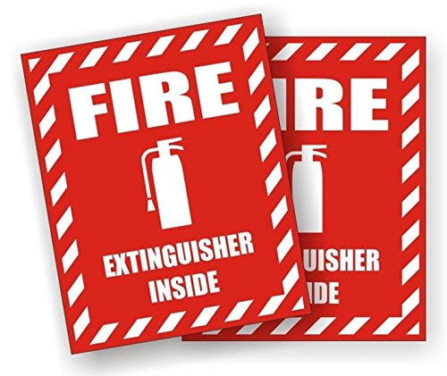 (2 Pcs Majestic Unique Fire Extinguisher Inside Window Stickers Laptop Luggage Graphics Safety Industrial Kit on Board Emblem Windows Vinyl Sticker Decals Size 3 3/4