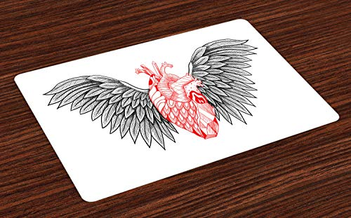 Ambesonne Angel Wings Place Mats Set of 4, Heart with Wings Anatomy of Love Human Body Gothic Valentines Day Theme, Washable Fabric Placemats for Dining Room Kitchen Table Decor, Vermilion and Grey