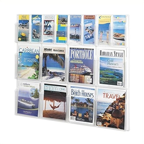 Reveal 8 Magazine and 8 Pamphlet Display Rack in Clear Finish (Safco Magazine Reveal Clear)