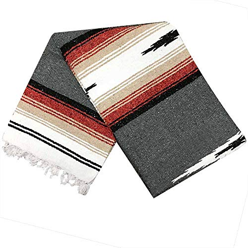 (Open Road Goods Charcoal Black Mexican Yoga Blanket - Thick Navajo Diamond with Vintage Retro Serape Red Tan Brown and White Stripes)
