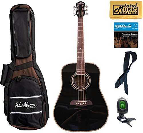 Oscar Schmidt Left Hand Dreadnought Style 3/4 Size Black Acoustic Guitar,Bundle w/Bag OG1BLH
