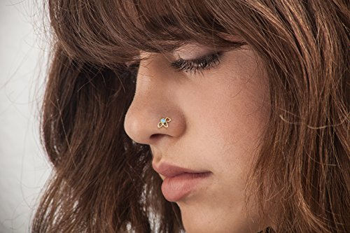 Nose Stud: Handmade Flower Power Solid 14k Gold Enameled Body Piercing. Designer Rings, Hoops & Studs for Nostril & Ear By Studio Meme - Dainty Tribal Jewelry Gold Enameled Flower