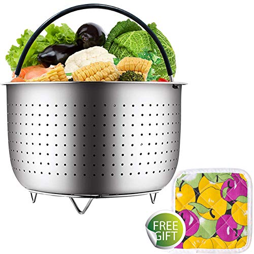 Steamer Basket For Instant Pot Accessories 6 or 8 qt, Fits Instant Pot Pressure Cooker/Ultra With Silicone Handle and Non-Slip Legs, 304 Stainless Steel Strainer for Vegetables, Fruits, Meats