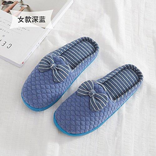 Fankou grazioso inverno pantofole di cotone morbido femmina metà inferiore con piscina coperta anti-slittamento home scarpe caldo autunno ,39-40, blu scuro