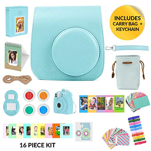 Fujifilm Instax Mini 9 Camera Accessories Bundle, Ice Blue Instax Mini Case + Strap, 16 Pc Kit Includes: 2 Photo Albums, Accessory Bag, 3D Keychain, Selfie Lens, Color Filters, 60 Stickers, Gift Set