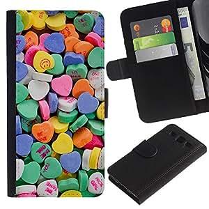 Graphic Case / Wallet Funda Cuero - Blue Love Hearts - Samsung Galaxy S3 III I9300