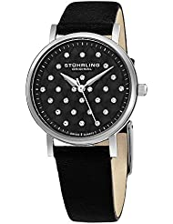 Stuhrling Original Women's Swiss Quilted-Dial Leather Strap Watch