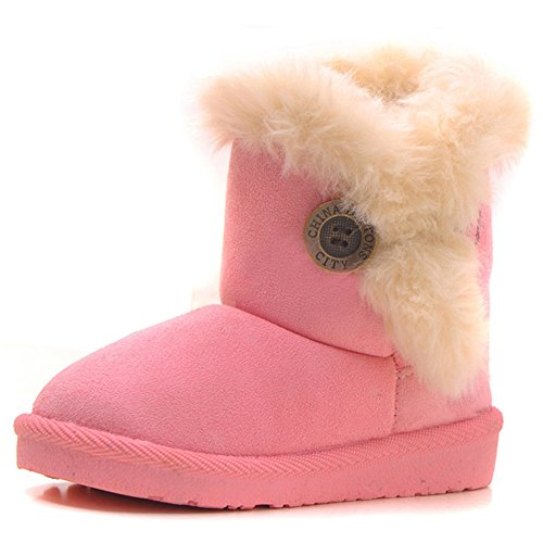 Kids Bailey Button (Femizee Girls Boys Warm Winter Flat Shoes Bailey Button Snow Boots(Toddler/Little Kid),Pink,1929)
