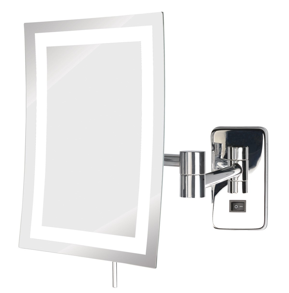 Jerdon JRT710CL 6.5-Inch by 9-Inch LED Lighted Wall Mount Rectangular Makeup Mirror, Chrome Finish