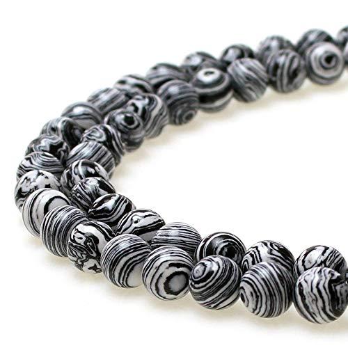 JARTC Synthesis Colour Malachite Beads Beautiful Fashion Round Stone Beads for DIY Jewelry Making 15 (8mm, Black - White)