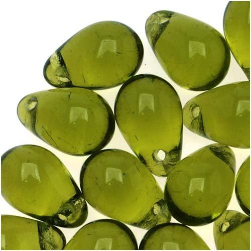 Jablonex Czech Glass Beads 9mm Teardrops Olivine Green (Drilled Teardrop Green)