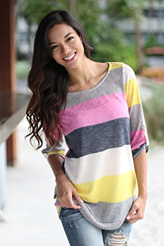 Casual Sleeve Tees V neck Blouse shirt Yellow Women's T Short Tops xqHaCww7