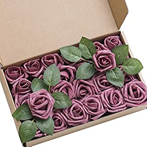 Ling's moment Artificial Flowers Mauve Rose Buds and Small Roses w/Stem for DIY Wedding Bouquets Centerpieces Arrangements Party Baby Shower Home Decorations 79