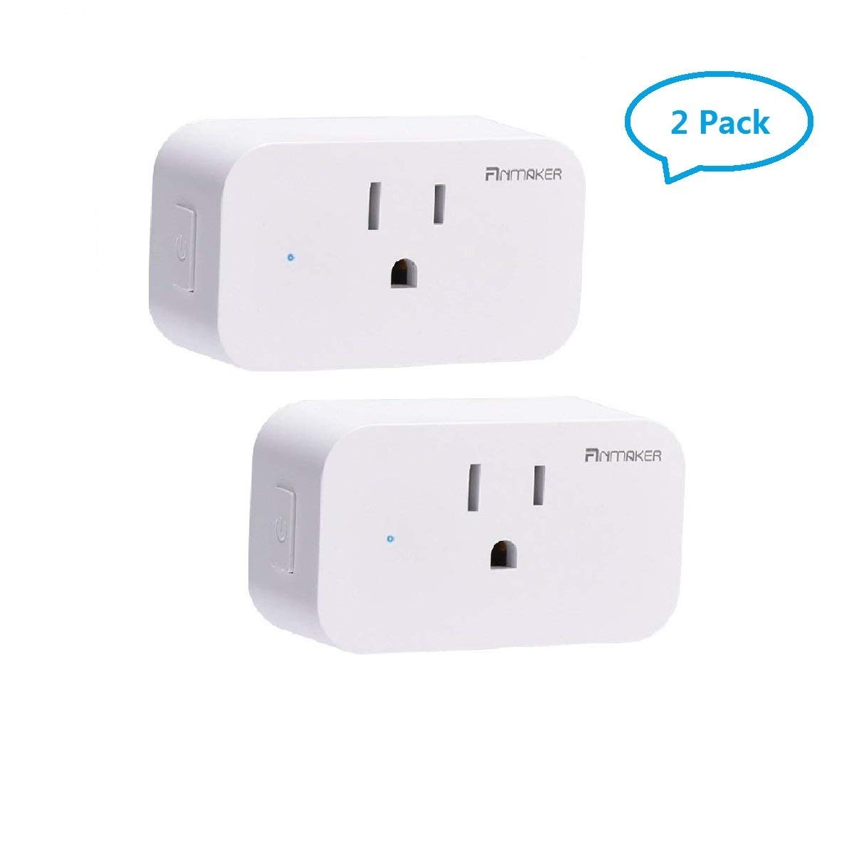Mini Wifi Smart Plug 2 Pack,Voice Control Through Alexa and Google Assistant,Control Your Home Device from Anywhere by 2G/3G/4G,Supports Timing Switch,DIY Scenes,Device Sharing.