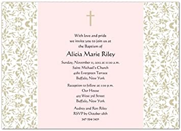 amazon com vintage floral iii taupe pink baptism invitations