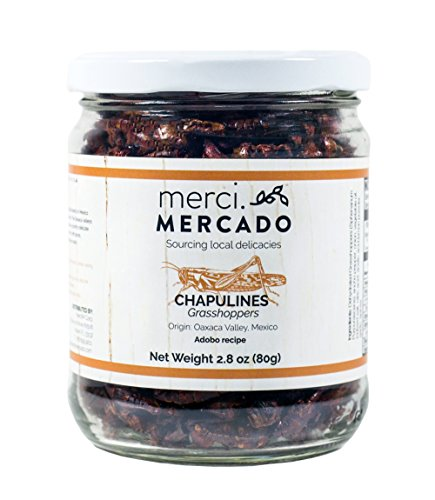 Chapulines (grasshoppers) - Gourmet edible insects from Oaxaca Mexico (Adobo recipe) (Merci Mercado 2.8 oz) -