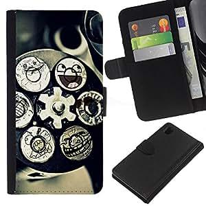 KLONGSHOP // Tirón de la caja Cartera de cuero con ranuras para tarjetas - Mecanismo de Tecnología Arte Funny Smiley - Sony Xperia Z1 L39 //