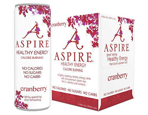 Aspire Healthy Energy, Calorie Burning, Zero Calorie,Zero Sugar Drink 4 Pack Cranberry