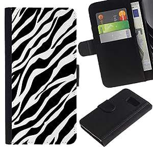 Leather Etui en cuir || Samsung Galaxy S6 || Patrón Líneas Piel Negro Blanco Limpio @XPTECH