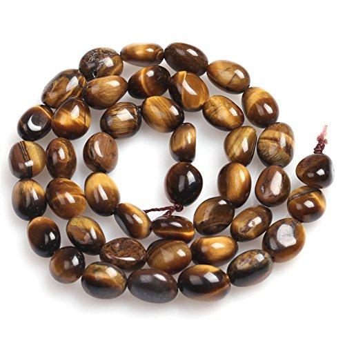 (6x8mm Yellow Tiger Eye Beads for Jewelry Making Natural Semi Precious Gemstone Freeform Potato Shape Strand 15