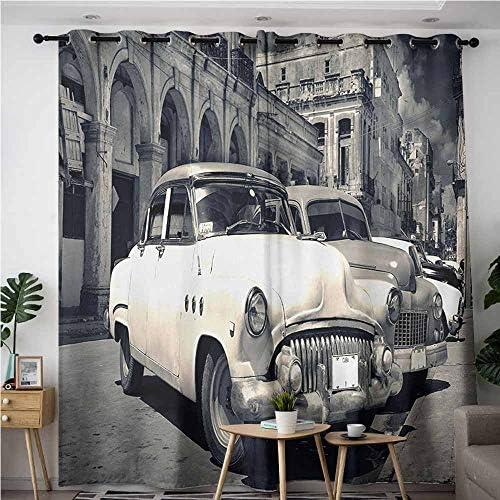 AndyTours - Cortinas para puerta corredera, diseño de coche vintage, vista panorámica de la calle Shabby Old Havana con coches clásicos americanos vintage, eficiencia energética, oscurecimiento de habitaciones, color gris y beige: