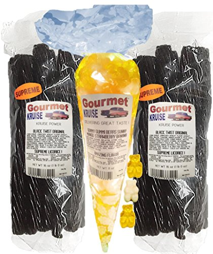 Black Licorice Original Twist 2-1lb Bags (1) Yellow Mango White Strawberry Banana Gummi Gummy Bears 11OZ (NET WT 43 OZ) Gourmet Kruise Signature -